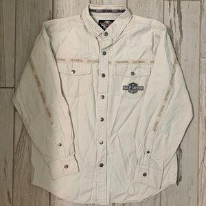 Harley Davidson snap button collared shirt